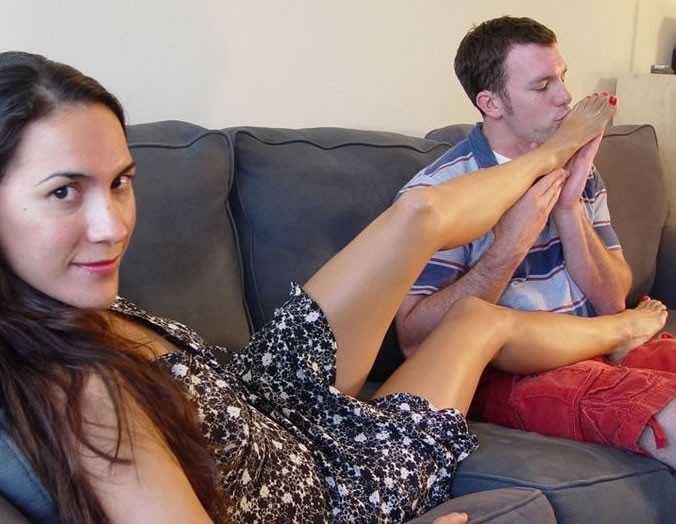 Wife forces husband to suck cock